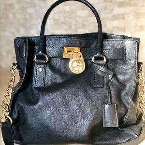 Michael Kors Hamilton Large Leather Tote Black